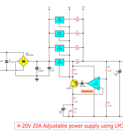 high current adjustable voltage regulator circuit 0 30v 20a supply schematic the diagram o high circuit circuits constant design [ 2438 x 1828 Pixel ]