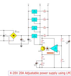 high current adjustable voltage regulator circuit 0 30v 20a lm338 adjustable power supply circuit schematic diagram [ 2438 x 1828 Pixel ]