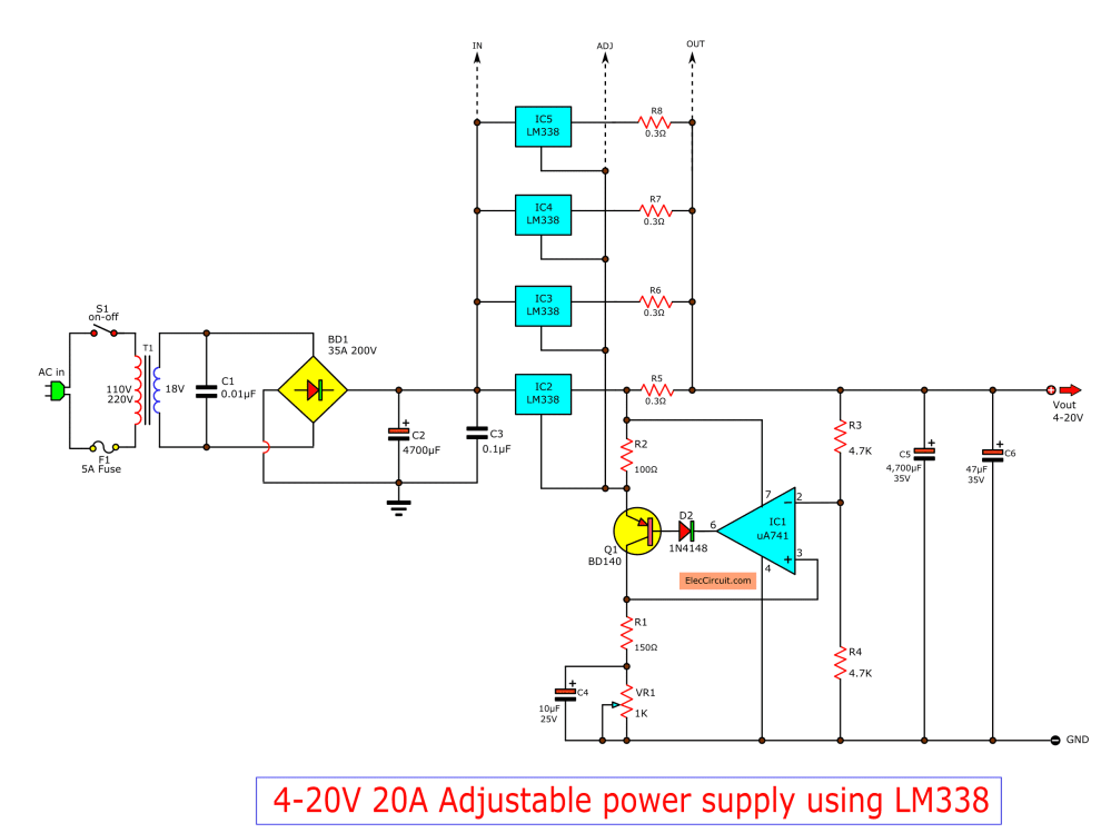 medium resolution of high current adjustable voltage regulator circuit 0 30v 20a supply schematic the diagram o high circuit circuits constant design