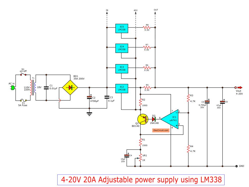 medium resolution of high current adjustable voltage regulator circuit 0 30v 20a lm338 adjustable power supply circuit schematic diagram