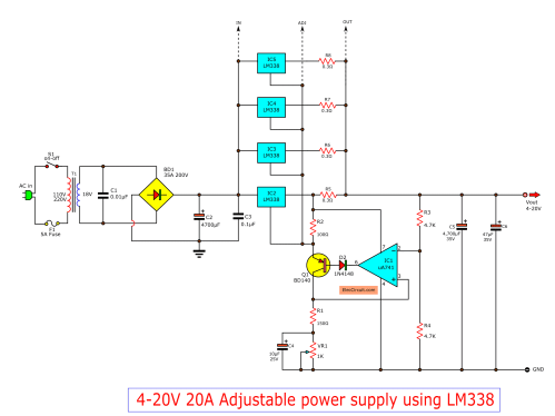 small resolution of high current adjustable voltage regulator circuit 0 30v 20a lm338 adjustable power supply circuit schematic diagram