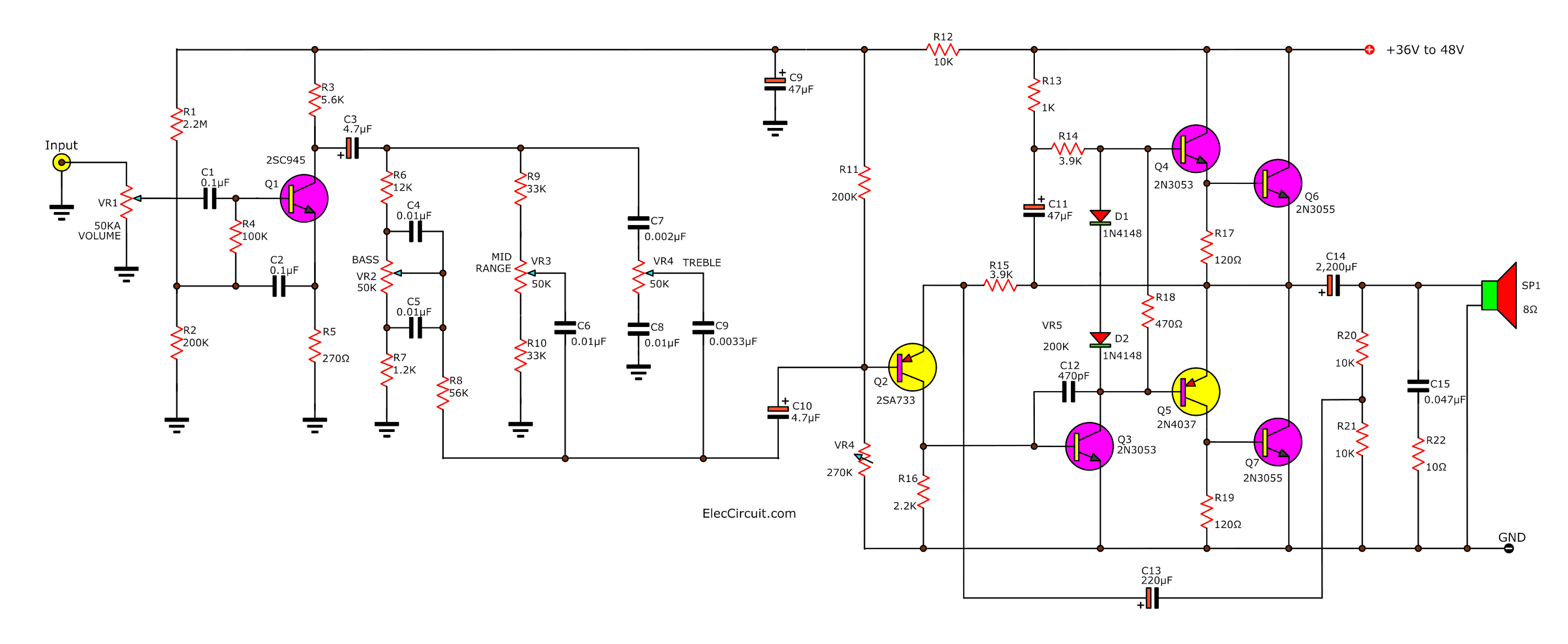 35 watts Audio amplifier circuit with bass and treble