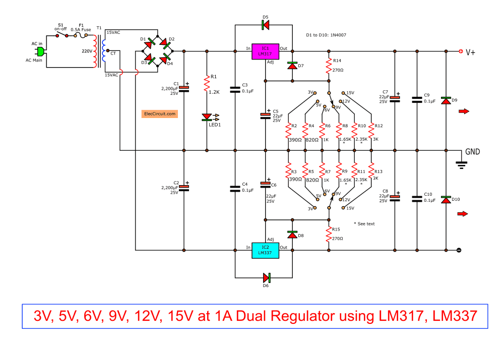 medium resolution of  the output voltage can change as value of resistor r2 and changes resistanes of r3 to r8 by selector switch s2 to choose the resistance as you want