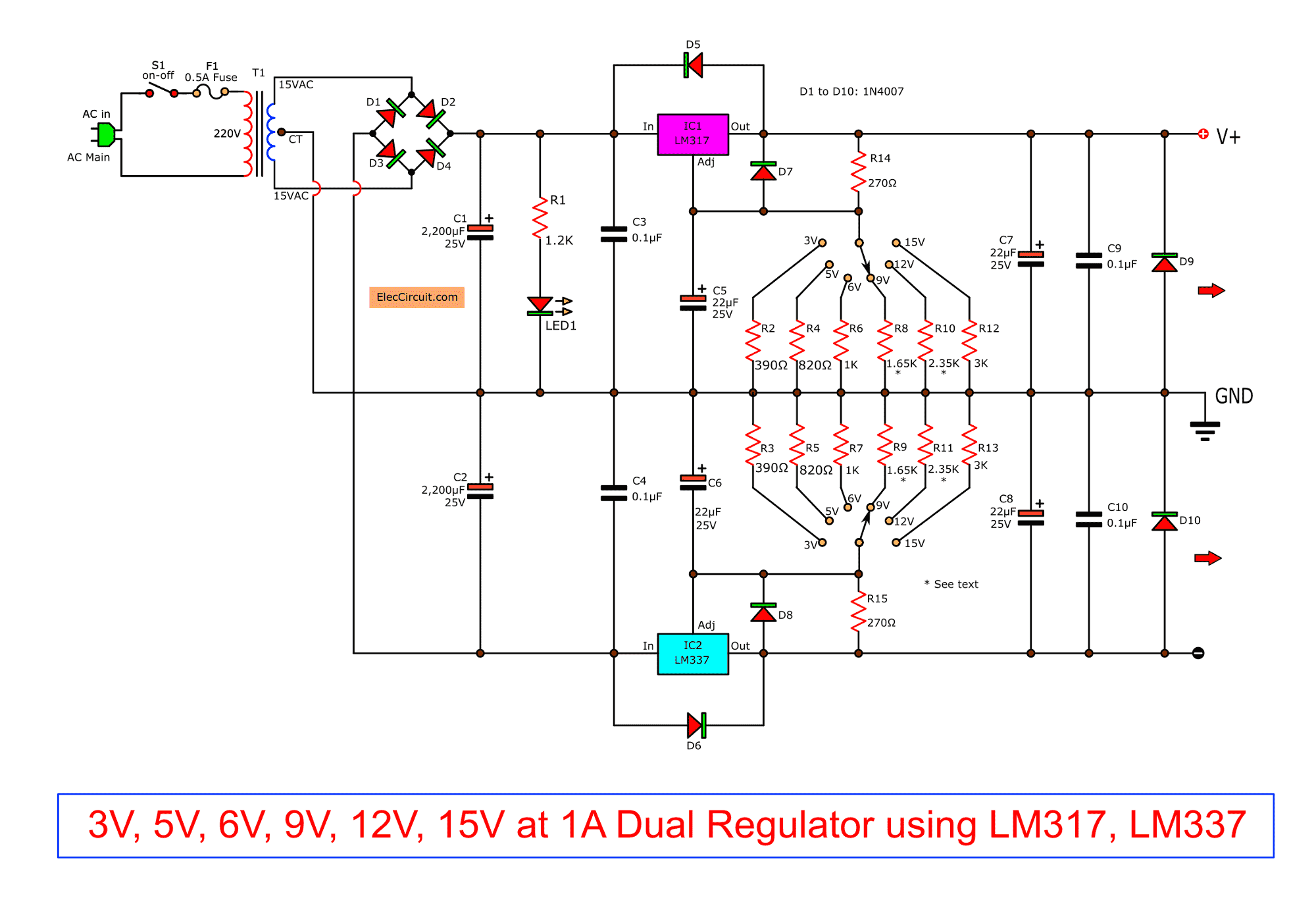 hight resolution of  the output voltage can change as value of resistor r2 and changes resistanes of r3 to r8 by selector switch s2 to choose the resistance as you want