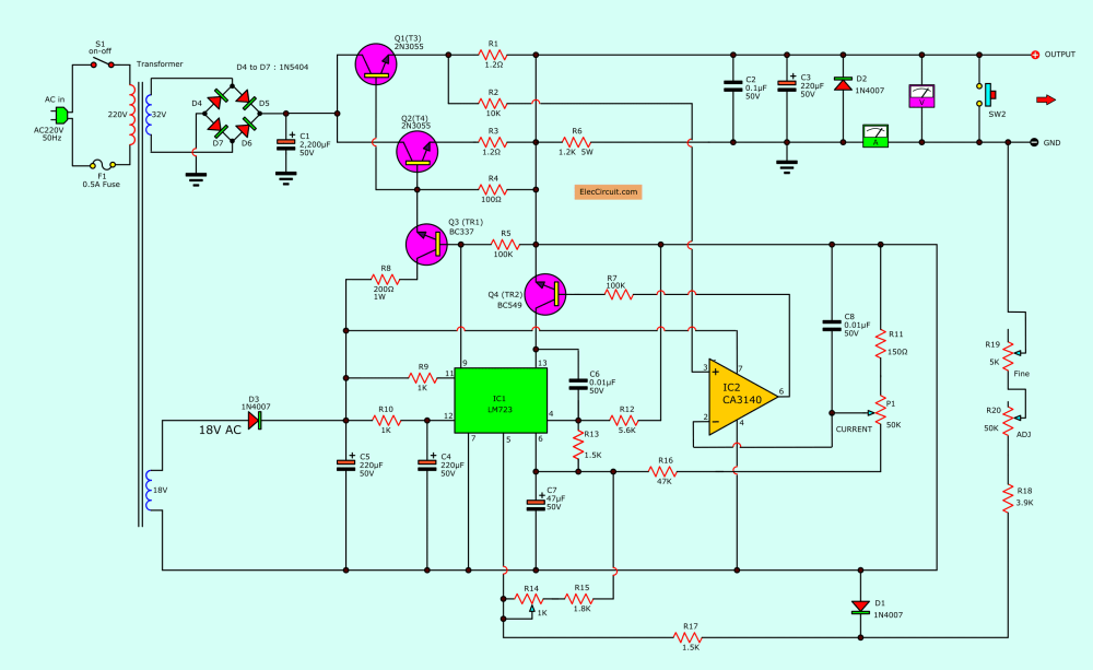 medium resolution of 0 30v 0 5a regulated variable power supply circuit eleccircuit com