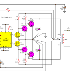 dc to ac converter circuit projects on eleccircuit com 12vdc to 24vac inverter circuit diagram 12v dc ac converter circuit diagram [ 1349 x 895 Pixel ]