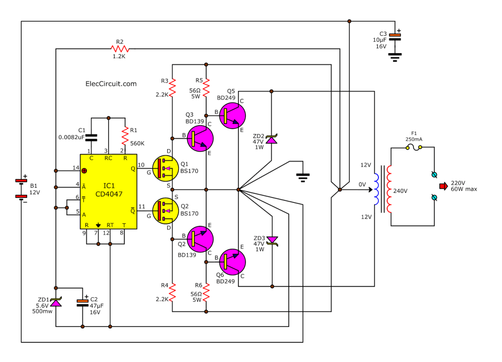 medium resolution of dc to ac converter circuit projects on eleccircuit com 12vdc to 24vac inverter circuit diagram 12v dc ac converter circuit diagram