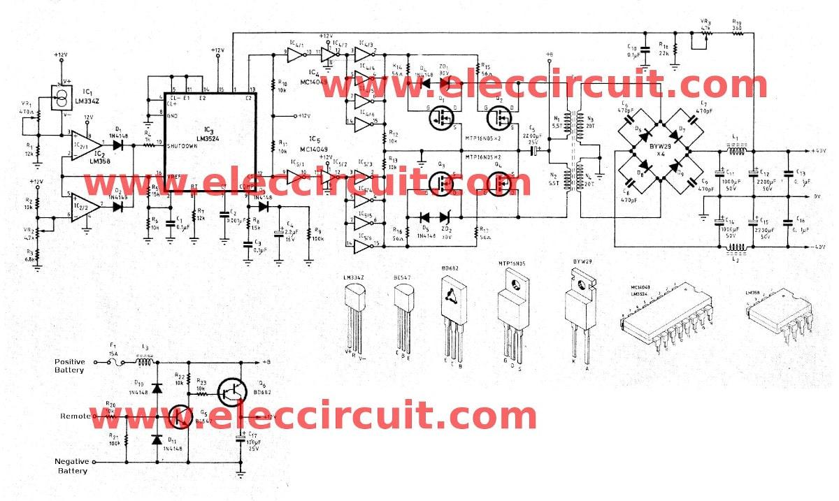 12vdc to 12vac converter circuit diagram wiring rj45 connector 37v dc by sg3524