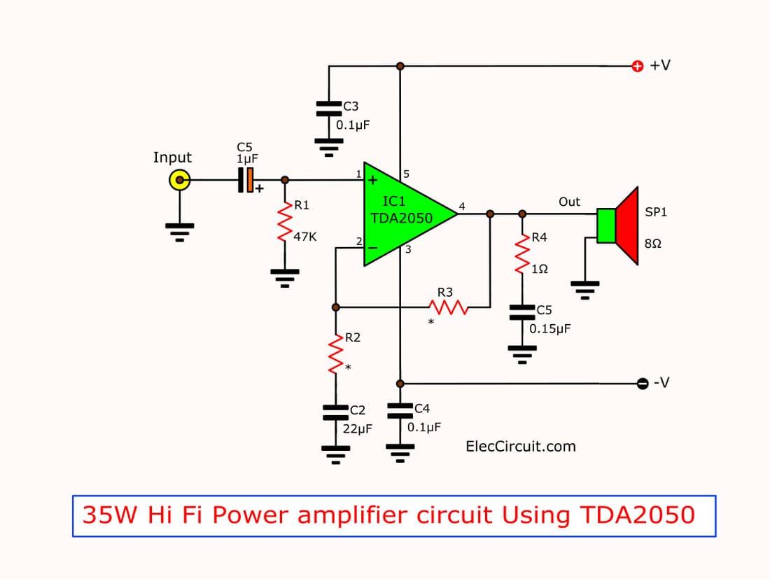 TDA2050 amplifier stereo 35W-75W