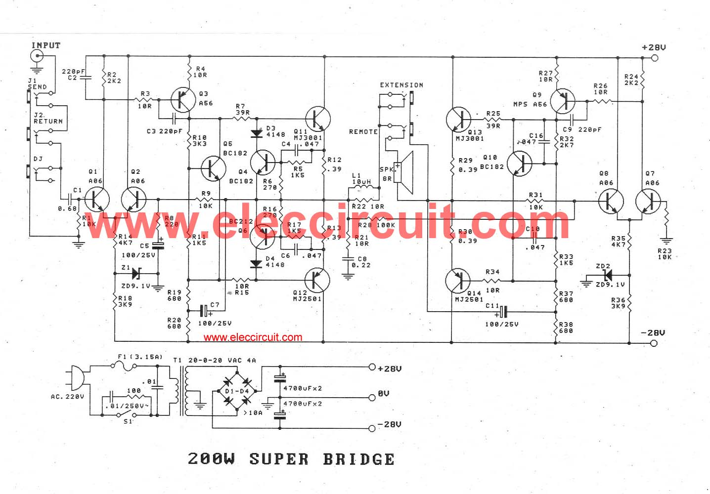 High power amplifier circuit ideas using transistors, 100W