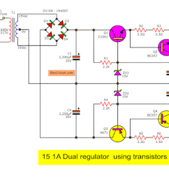 dual dc regulator 15v using c1061 and a761 schematic diagram  [ 1279 x 700 Pixel ]
