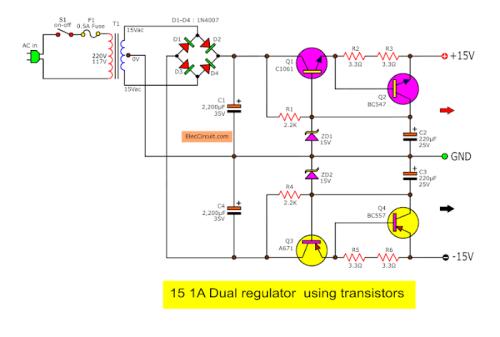 small resolution of dual dc regulator 15v using c1061 and a761 schematic diagram