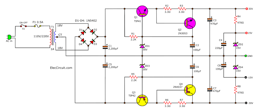 medium resolution of by it is the circuit is simple use the transistor 4 pcs c1061 a761 driver 2n3053 2n4037 only and we use a zener diode 30v 2pcs has a constant voltage
