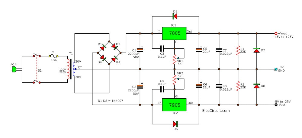 7805 and 7905 Dual adjustable power supply project