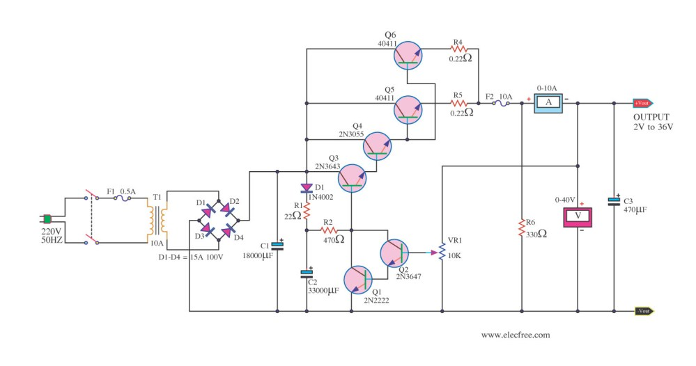 medium resolution of high current variable voltage regulator 2 36v 10a electronic circuit diagram