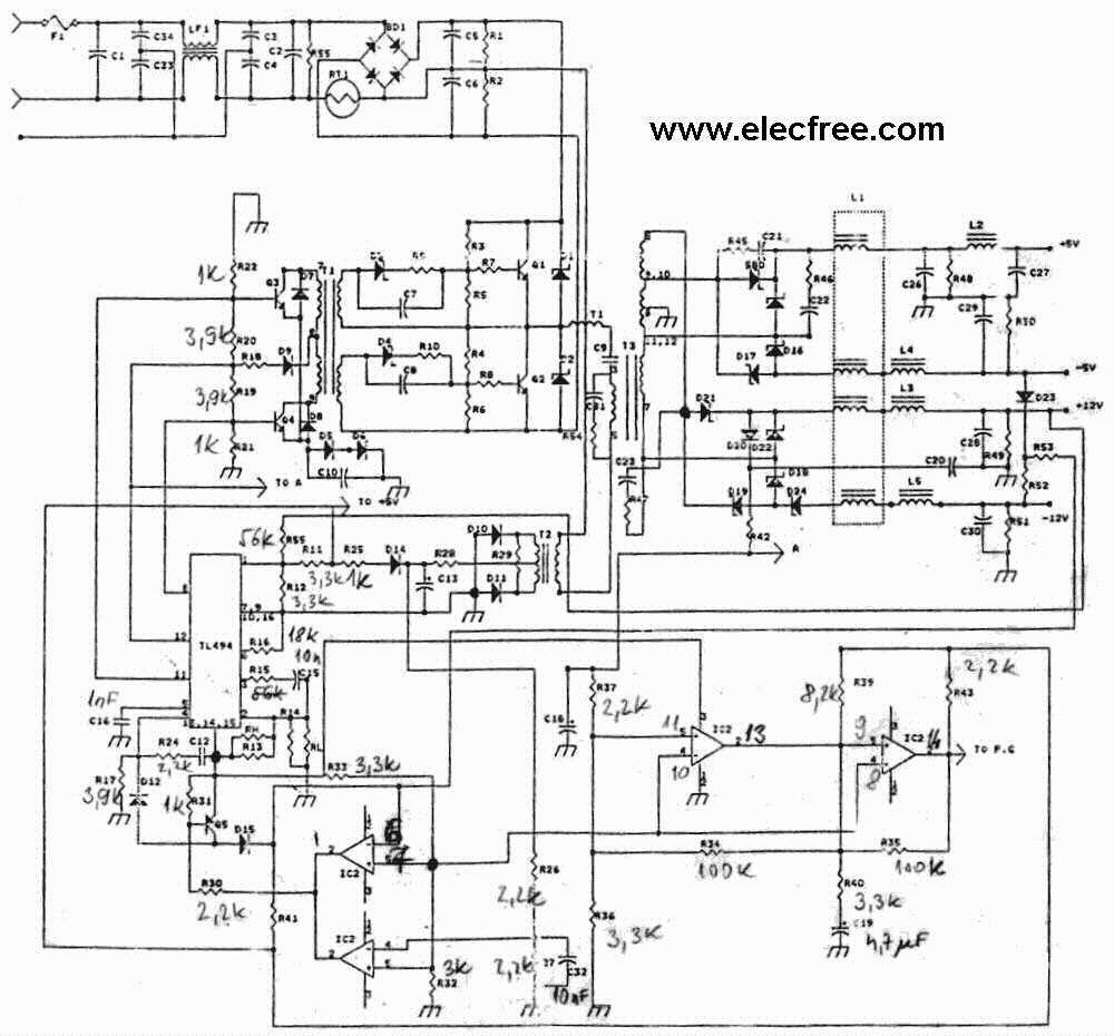 hight resolution of 5 pc power supply circuit for you eleccircuit com dell laptop power supply schematic diagram dell power supply schematic