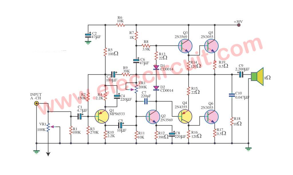 1000 Watt Audio Amplifier Circuit Diagrams Three Simple 50w Otl Audio Amplifier Circuit By 2n3055