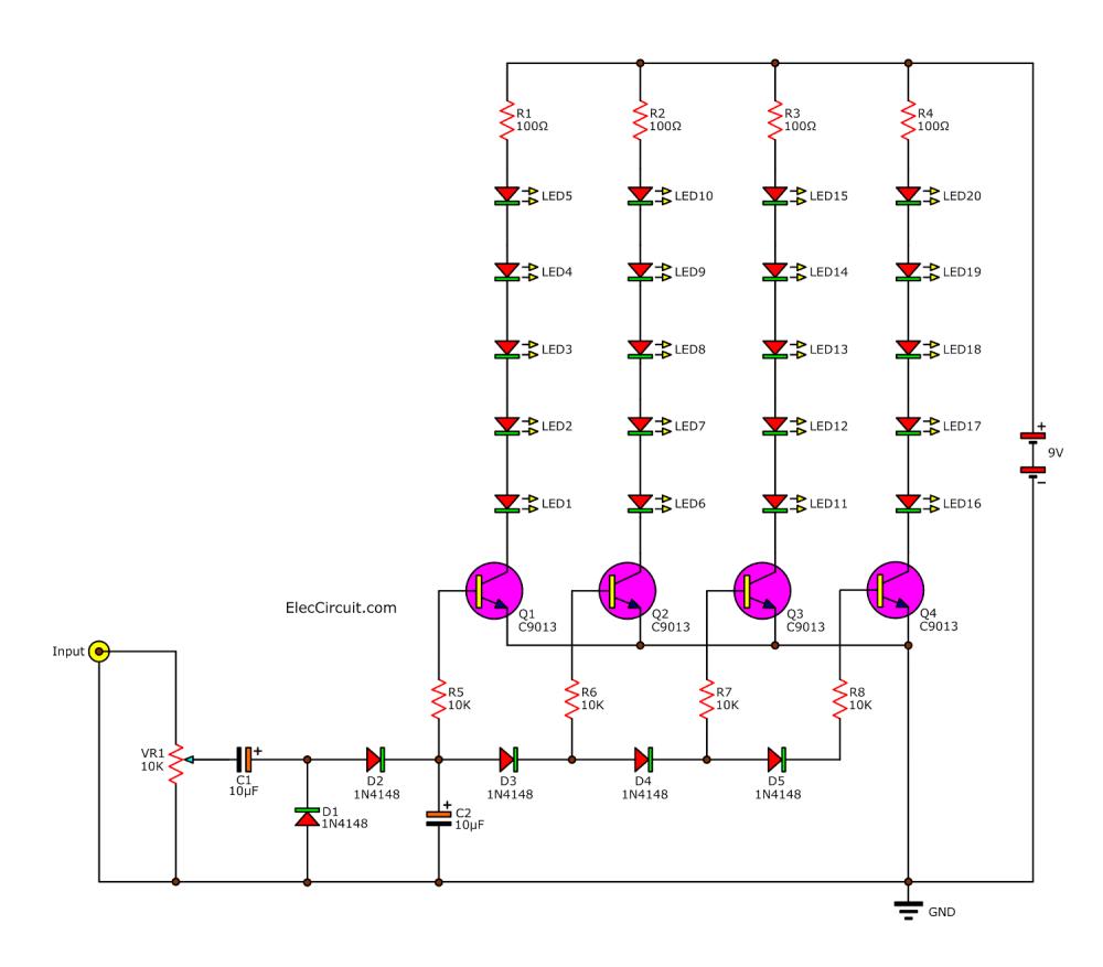 medium resolution of analog vu meter circuit using transistors