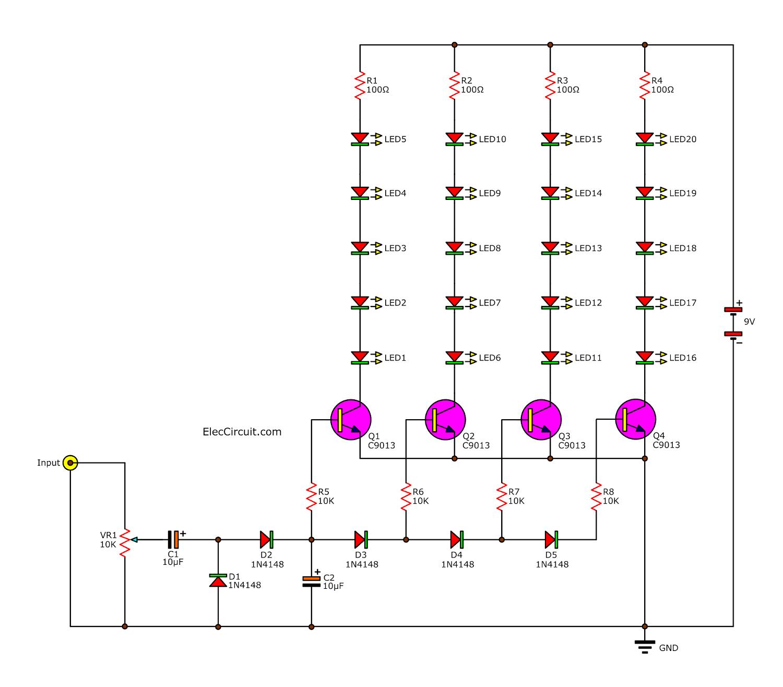 hight resolution of analog vu meter circuit using transistors