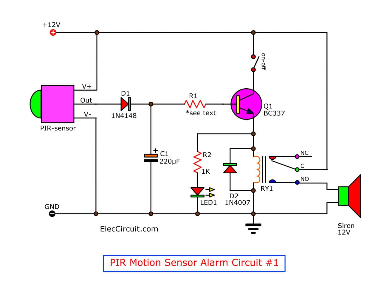 hight resolution of motion detector alarm circuit with pir sensor simple and cheap circuit diagram gtpir motion sensor alarm circuit