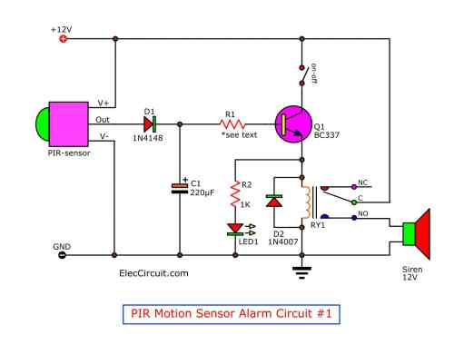 small resolution of motion detector alarm circuit with pir sensor simple and cheap circuit diagram gtpir motion sensor alarm circuit