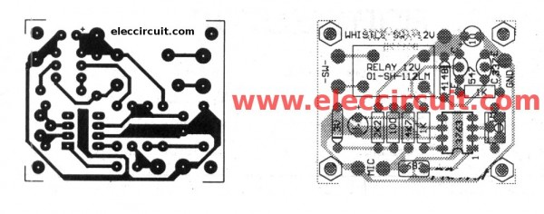 Whistle activated light switch circuit with PCB