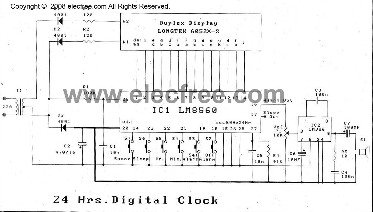 hight resolution of lm8560 digital clock circuit diagram with alarm eleccircuit com radio alarm clock schematic