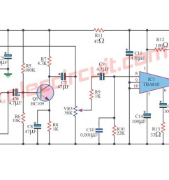 7 watts power amplifier circuit using tba810 [ 1309 x 631 Pixel ]