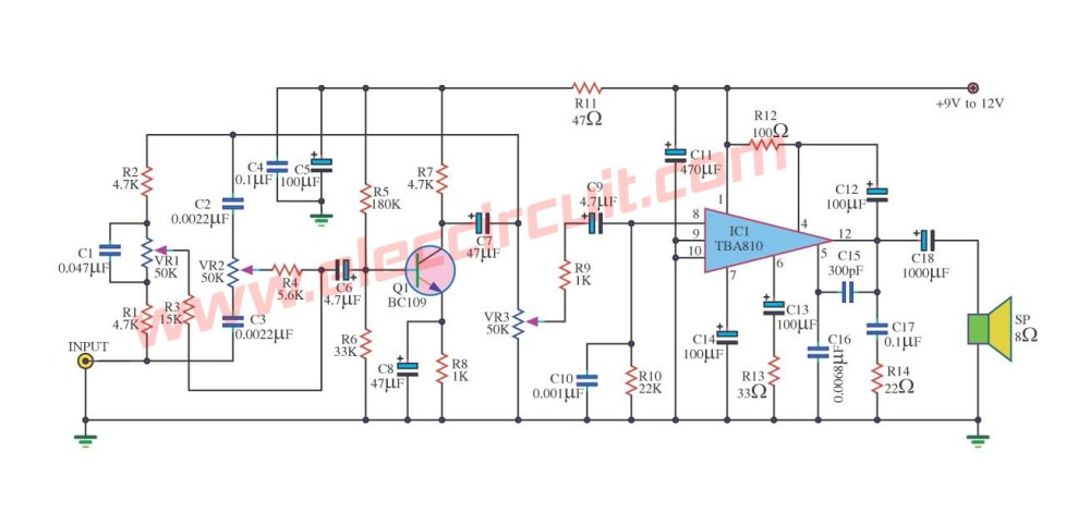 medium resolution of 7 watts power amplifier circuit using tba810