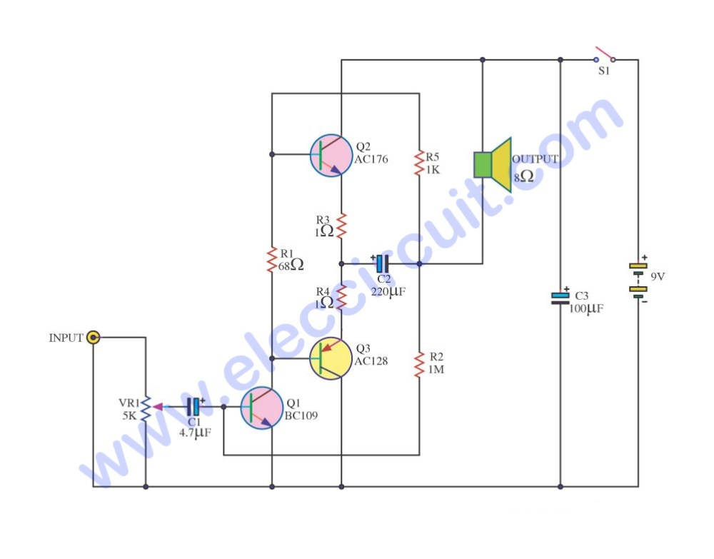 medium resolution of simple audio amplifier circuit diagram using transistor power amplifier otl using ac176 ac126