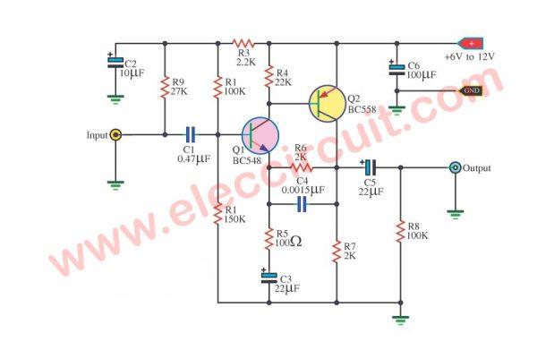 Amplifier Circuit Diagrams 1000w 4 Preamplifier Circuits Using Transistors Eleccircuit Com