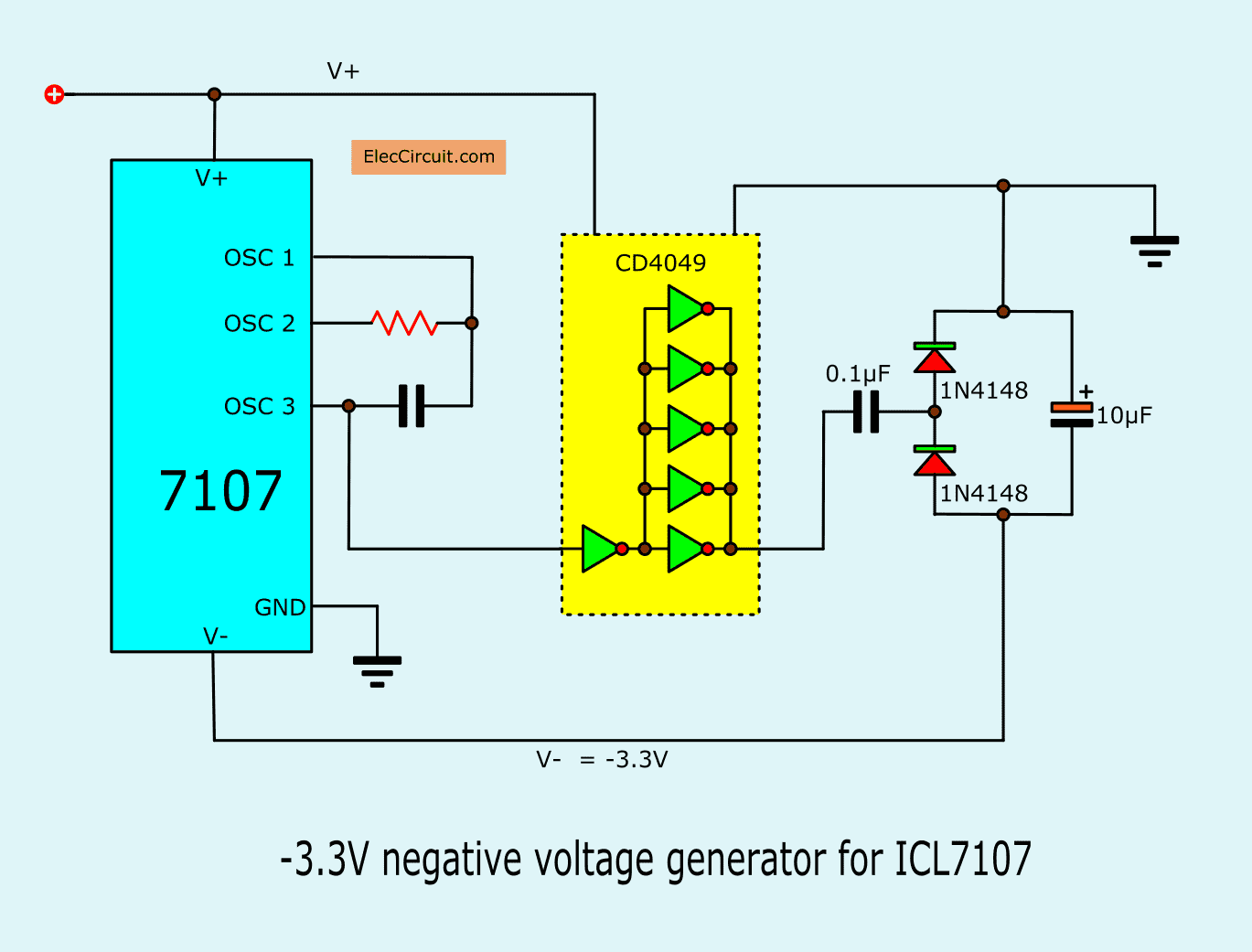 hight resolution of in normal it powers only a single positive voltage then we build a negative voltage generator circuit in figure