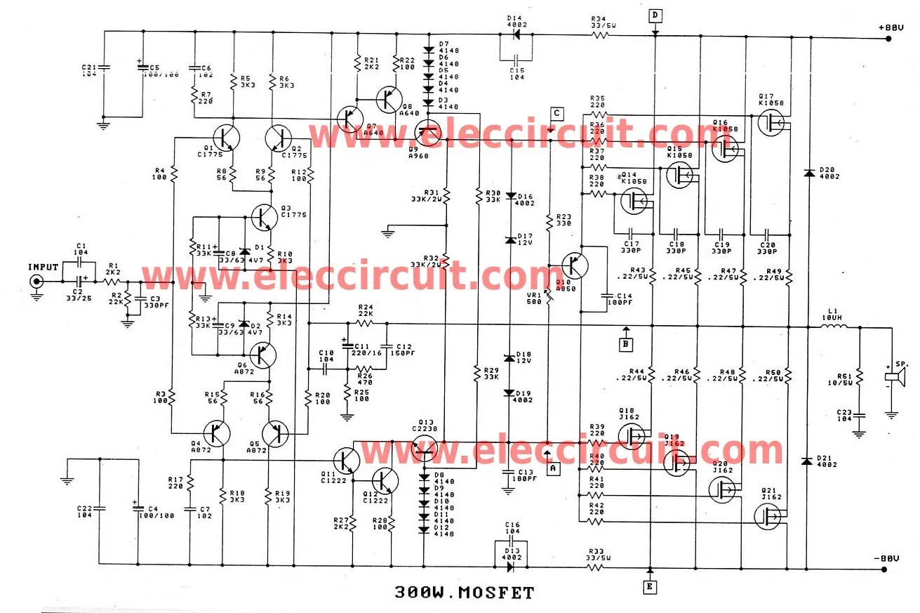 hight resolution of 300 1200w mosfet amplifier for professionals projects circuits free diagrams amplifiers mosfet 500 watts