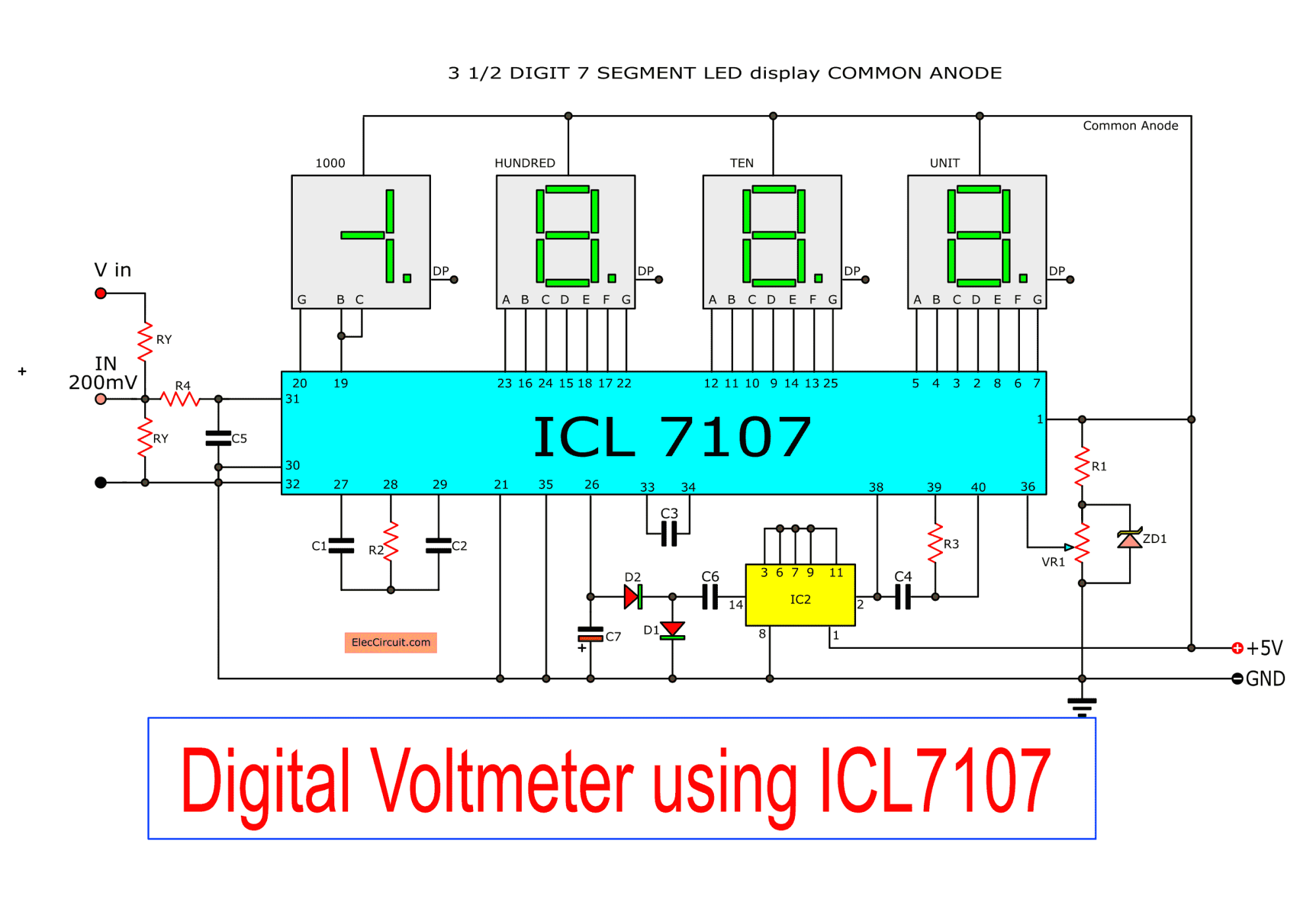 hight resolution of digital voltmeter circuit diagram using icl7107 7106 with pcb circuit digital voltmeter circuit diagram power supply circuit