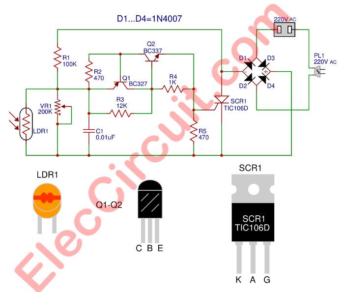 110v Light Sensor Wiring Diagram Automatic Night Light Circuit Using Scr