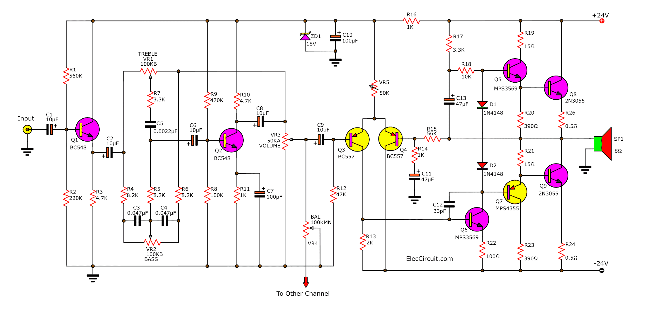 2N3055 amplifier circuit diagram, 30w OCL integrated PCB