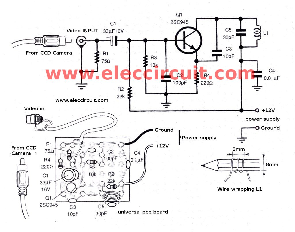 wireless power transmission circuit diagram totaline thermostat wiring how to install ccd camera sensor with vhf sender