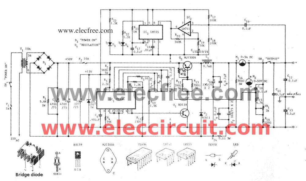 medium resolution of variable switch mode power supply circuit 0 50v at 5a eleccircuit com switching power supply circuit diagram quotes