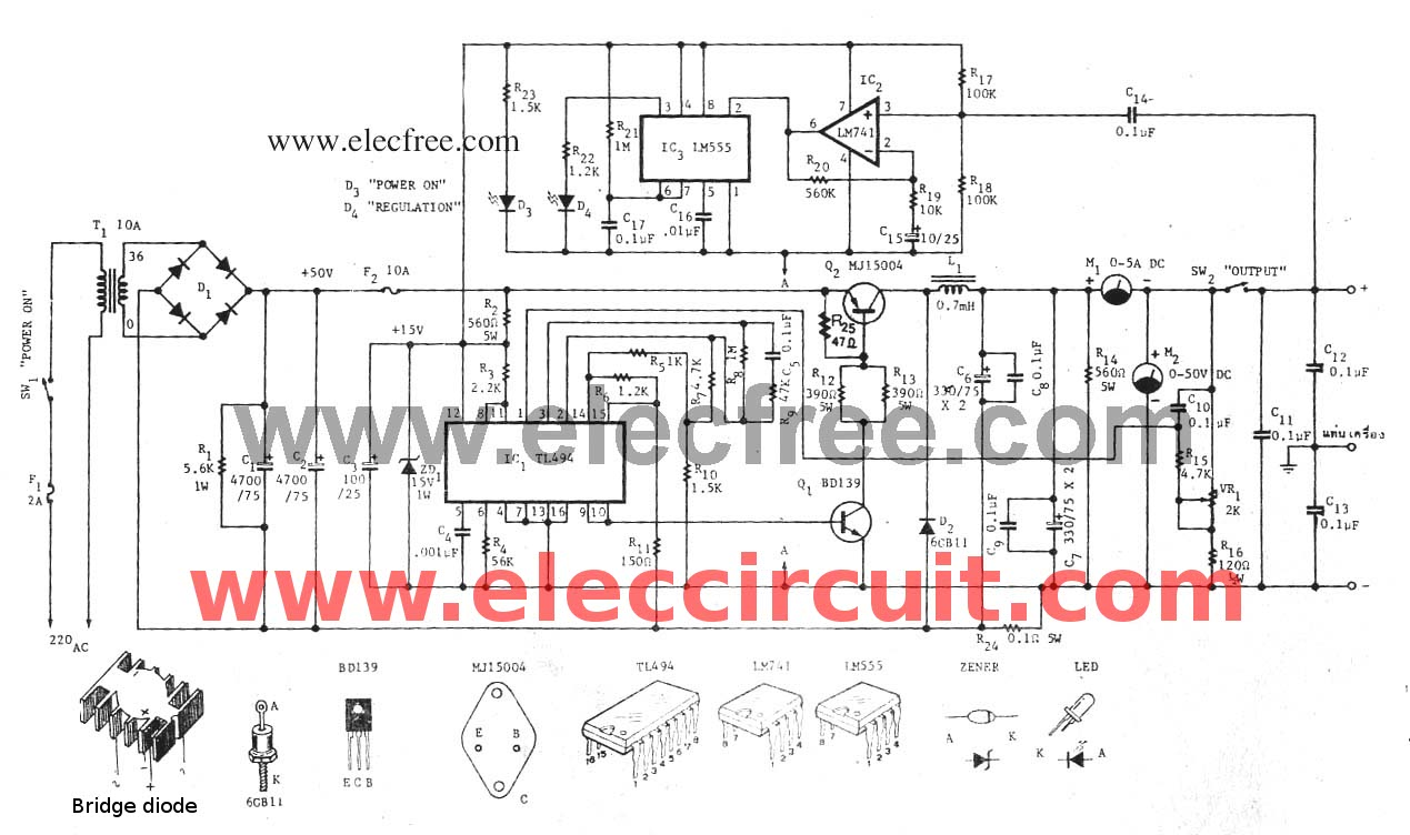 hight resolution of variable switch mode power supply circuit 0 50v at 5a eleccircuit com switching power supply circuit diagram quotes