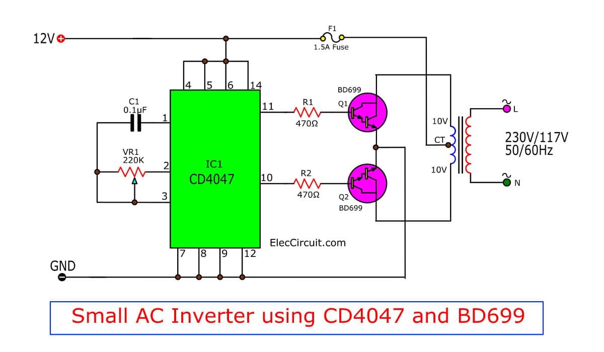 Semi Low Power Inverter Circuit Diagram Electronic Circuit Diagrams