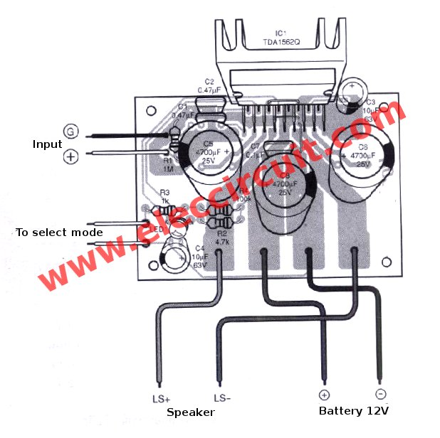 audio amplifier circuit diagram with layout wiring indicator lights 12v car 50w 65w pcb eleccircuit com the component for