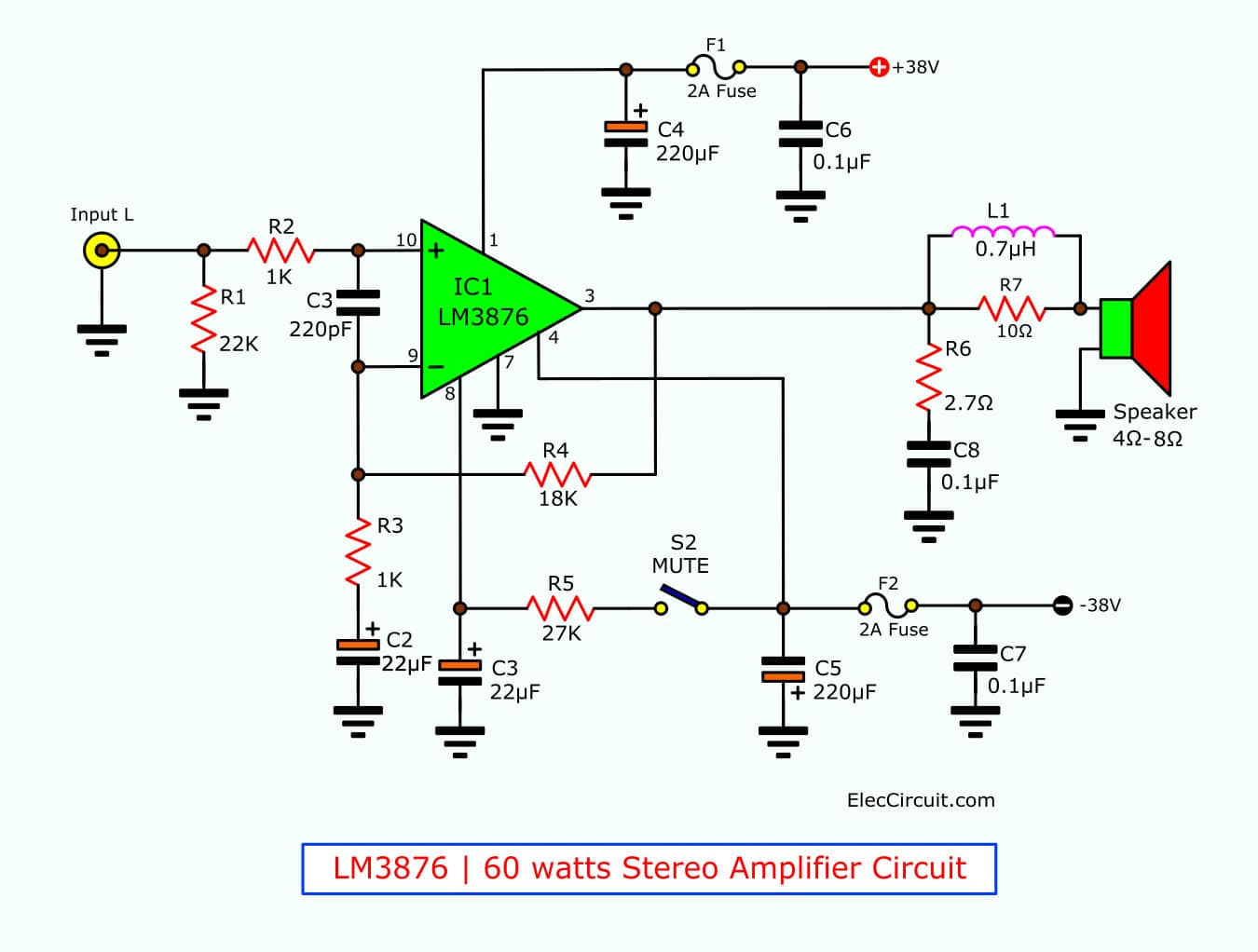 hight resolution of 60 watt stereo amplifier circuit using lm3876