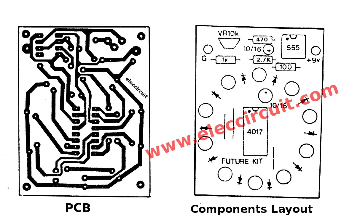 hight resolution of components layout of circle led chaser circuit