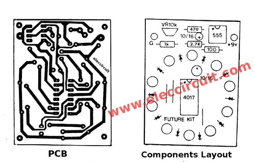 small resolution of components layout of circle led chaser circuit