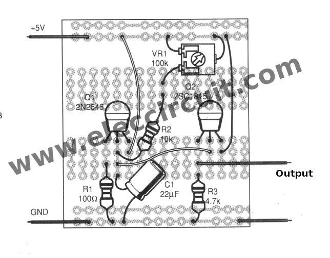 sawtooth wave generator circuit using ujt eleccircuitcom