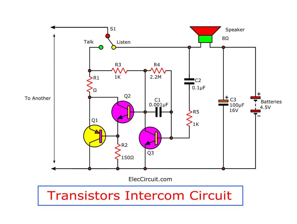 figure 1 simple intercom circuit using tree transistors