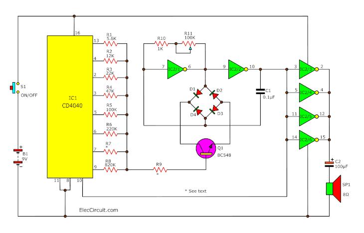 the sound effect generator using cd4040 cmos