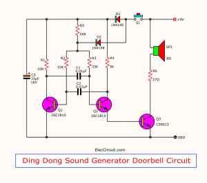 2 tone doorbell circuit using transistors  ElecCircuit