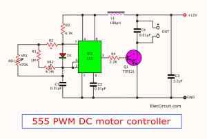555 PWM DC motor controller circuit  ElecCircuit