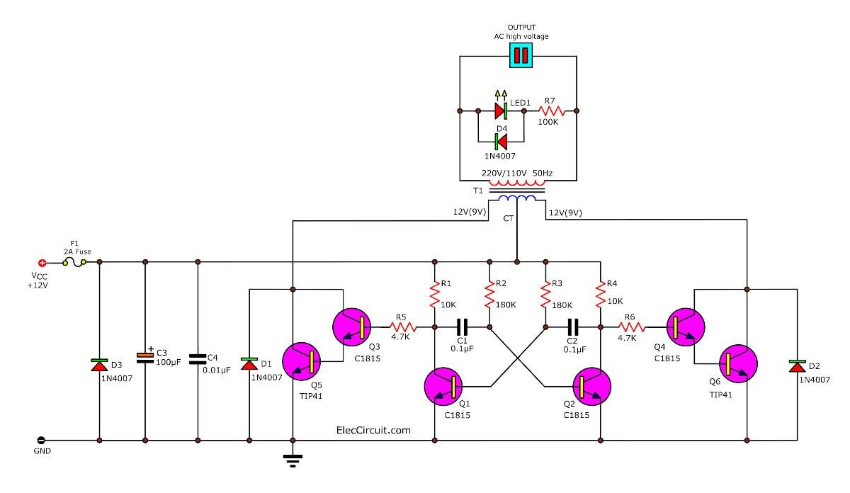 Simple inverter circuit using 6 transistor